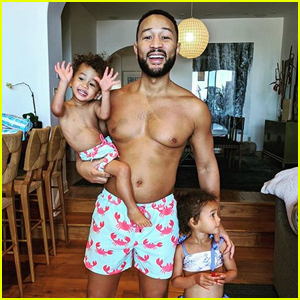 Chrissy Teigen Shares Photo of Shirtless John Legend & Son Miles Wearing Matching Bathing Suits!
