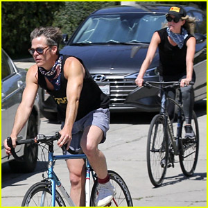 Chris Pine Soaks Up the Sun During a Bike Ride with Annabelle Wallis