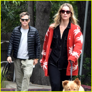 Chris Pine & Annabelle Wallis Take Their Dogs for a Saturday Morning Walk