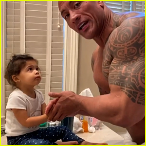 Dwayne Johnson Helps His Daughter Wash Her Hands While Wearing Just a Towel! (Video)