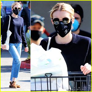 Emma Roberts Stocks Up on Paper Products During Grocery Run