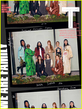 Dakota Johnson & Florence Welch Pose With Gucci Creative Family for 'T Magazine'!