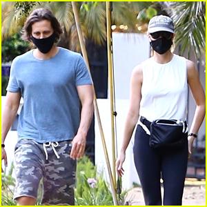 Gwyneth Paltrow & Brad Falchuk Go For a Masked Stroll in Brentwood