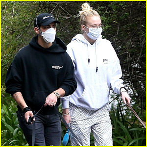 Joe Jonas & Sophie Turner Emerge from Quarantine for a Walk With the Dogs