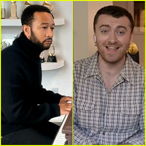 John Legend & Sam Smith Sing a Duet at Home with Their Oscars in the Background!