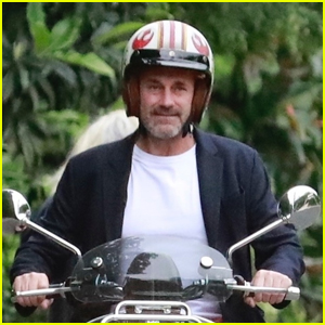Jon Hamm Wears a Star Wars Rebel Helmet While Riding Scooter Amid Pandemic
