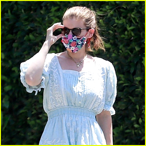 Kate Mara Wears Pretty Floral Mask While Out Walking Her Dog