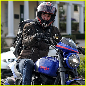 Keanu Reeves Takes a Ride Down Sunset Boulevard in His Motorcycle