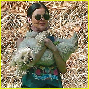 Lucy Hale Takes Energetic Pup Elvis To The Dog Park