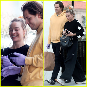 Margot Robbie & Husband Tom Ackerley Make Rare Appearance Out Together to Shop for Groceries