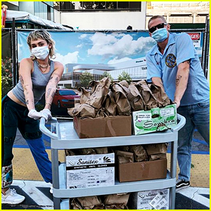 Miley Cyrus & Cody Simpson Deliver Tacos to Healthcare Workers - After She Shaves His Head!