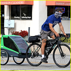 Shia LaBeouf Buys a Child Trailer for His Bicycle