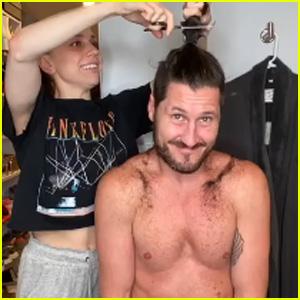Val Chmerkovskiy's Wife Jenna Johnson Cuts Off His Ponytail in Quarantine - Watch!