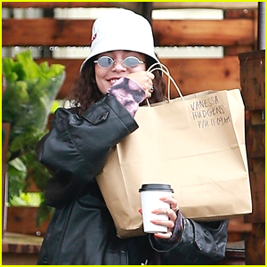 Vanessa Hudgens Picks Up Food To Go On Rainy Monday