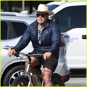 Arnold Schwarzenegger Wears a Cowboy Hat During His Morning Bike Ride Over Memorial Day Weekend