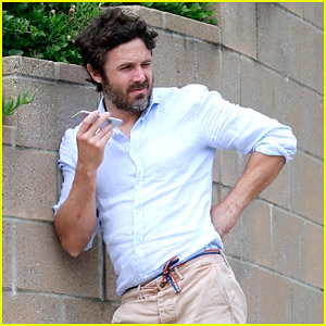 Casey Affleck Goes For a Walk While Taking a Call