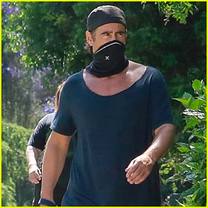 Colin Farrell Takes His Dog for a Walk at Griffith Park