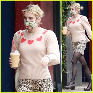 Emma Roberts Grabs a Frappuccino in a Mask Amid Quarantine