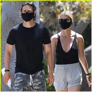 Gwyneth Paltrow Wears Plunging Bodysuit on Walk with Brad Falchuk