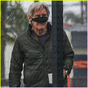 Harrison Ford Pulls Up His Face Mask to Drink His Coffee