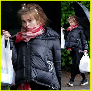 Helena Bonham Carter Braves the Rain on a Grocery Run in London Amid Quarantine