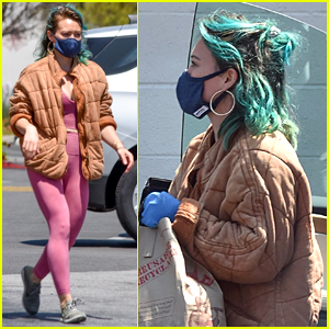 Hilary Duff Shows Off Her Blue Hair at the Grocery Store
