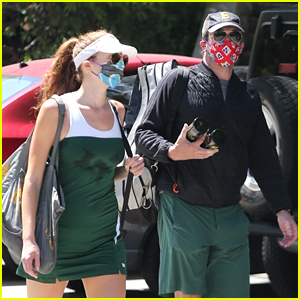Jon Hamm Plays Tennis with Anna Osceola, His Longtime Rumored Girlfriend
