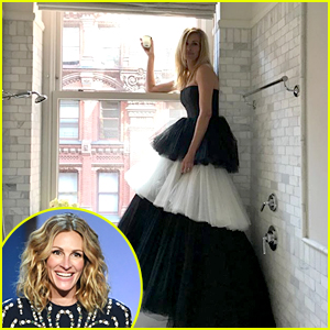 Julia Roberts Dresses Up in Beautiful Black & White Tiered Gown To Celebrate 2020 Met Gala From Home