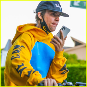 Justin Bieber Chats on the Phone During a Bike Ride Amid Quarantine