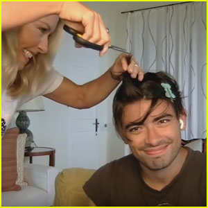 Kelly Ripa Cuts 22-Year-Old Son Michael Consuelos' Hair With Kitchen Scissors Live on TV - Watch! (Video)
