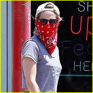 Kristen Stewart Wears Red Bandana Over Her Face While on Coffee Run