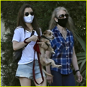 Lily Collins Brings Mom Jill For Walk With Dog Redford