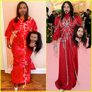 Mindy Kaling Recreates Jared Leto's Two-Headed Met Gala Look With a Tarp, Lights, & Packing Tape