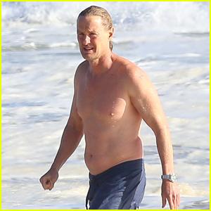 Owen Wilson Goes for a Swim in the Ocean in Malibu