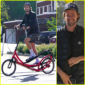 Patrick Schwarzenegger Rides His Elliptical Red Bike To Meet Abby Champion