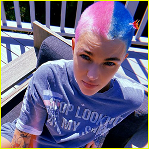 Ruby Rose Debuts Hot Pink & Blue Buzzed Hair Style During Quarantine