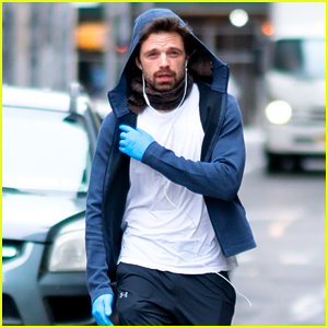 Sebastian Stan Wears Protective Gloves During a Stroll in NYC