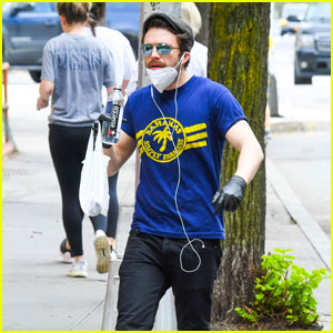 Sebastian Stan Grabs Essentials in a Mask & Gloves in NYC Amid Pandemic
