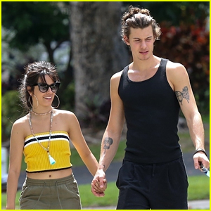 Shawn Mendes & Camila Cabello Take Her Dog Thunder For a Walk in Florida