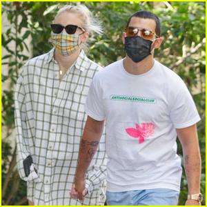 Sophie Turner Wears Oversized Shirt on Walk with Joe Jonas