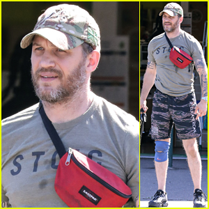 Tom Hardy Wears a Knee Brace While Taking Dog to Vet's Office