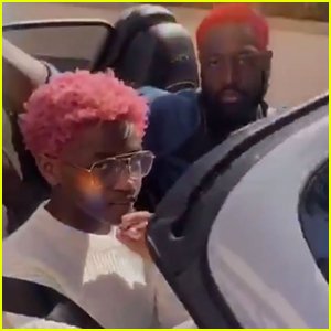 Dwyane Wade Twins With Daughter Zaya in Bright Red Hair