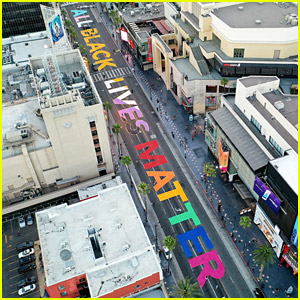 'All Black Lives Matter' Painted on Hollywood & Highland Streets In Pride Flag Colors