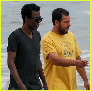 Adam Sandler Meets Up with Longtime Pal Chris Rock for Walk Along the Beach!