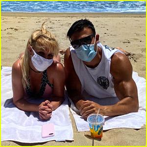 Britney Spears & Boyfriend Sam Asghari Wear Face Masks for a Beach Day!