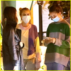 Cara Delevingne Dines at the Chateau Marmont with the Qualley Sisters
