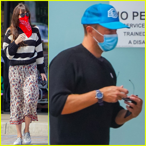 Dakota Johnson & Chris Martin Wear Their Face Coverings to Shop for Groceries