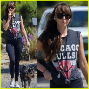 Dakota Johnson Goes for a Casual Walk with Dog Zeppelin