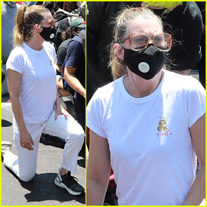 Ellen Pompeo Takes A Knee During Protest In Los Angeles
