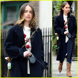 Emilia Clarke Takes Her Dog for a Walk at the Park in London Amid Quarantine